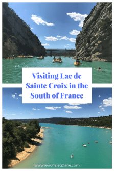 Lac de Sainte Croix sits at the end of the Gorges du Verdon and is a must-see on a summer road trip through the South of France. With turquoise green water and a host of activities, it's a popular destination for tourists and locals alike. Save to your travel board for future reference.