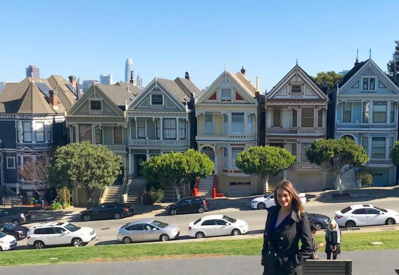 in front of the Painted Ladies