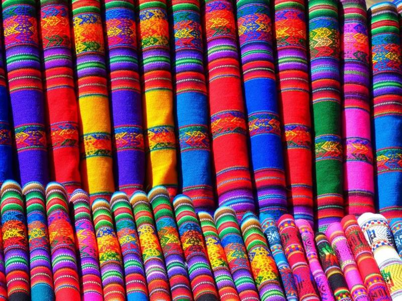 Fabrics at a street market