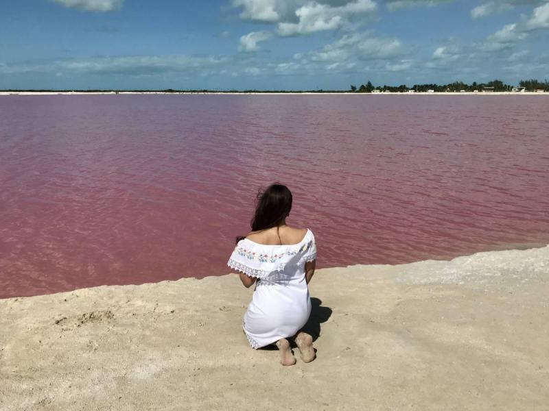 Sitting by the pink lakes of the Yucatan