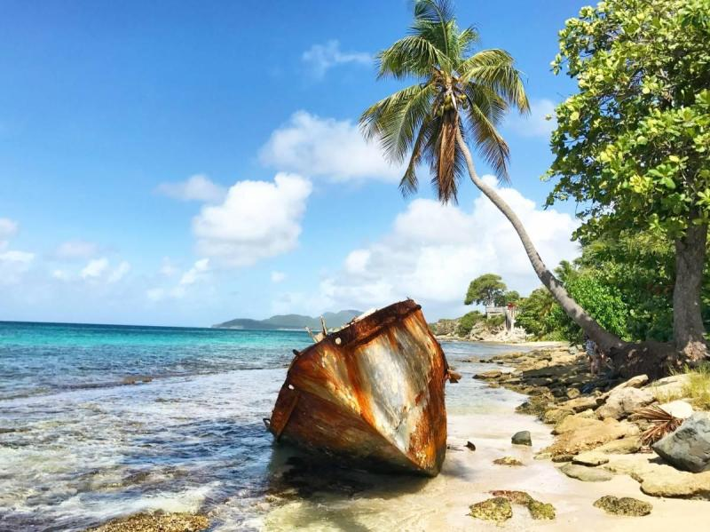 Rusted boat on the island of Vieques