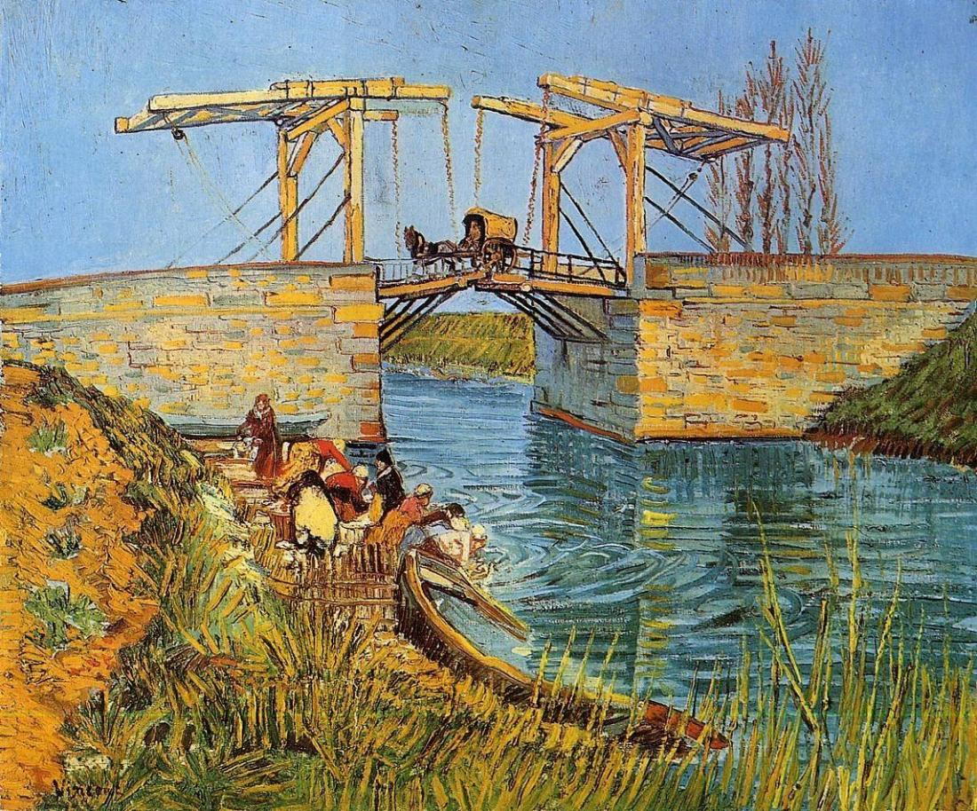 Van Gogh's bridge painting with cart crossing and women washing clothes