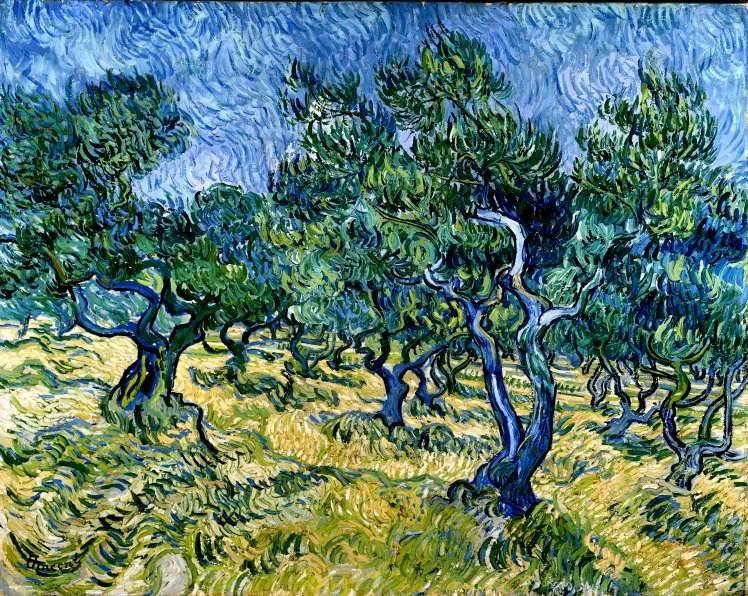 Painting of olive trees at the asylum