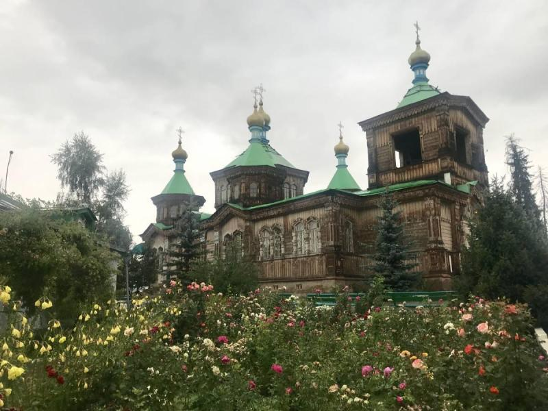 Cathedral from the front with flowers