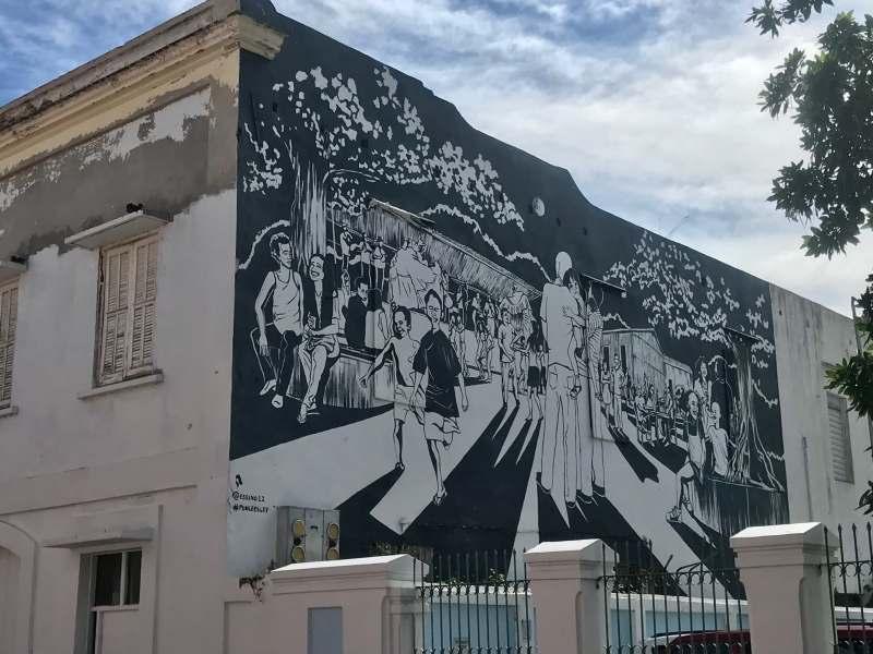 Street art on facade of building
