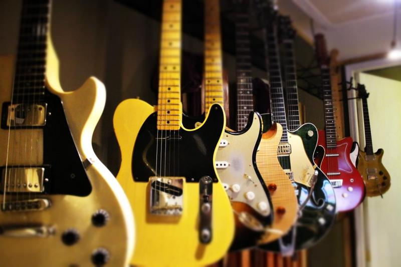 Guitars handing from the wall