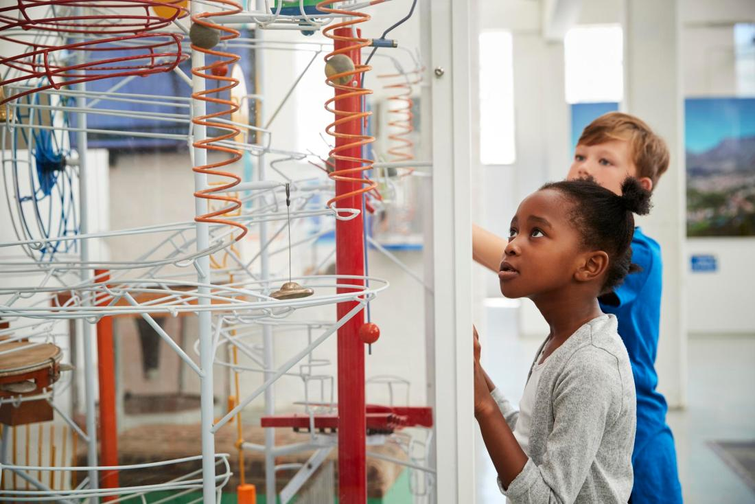 Children looking at a science exhibit