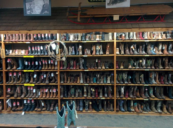 display wall of cowboy boots fm light store steamboat springs co jenphotographs