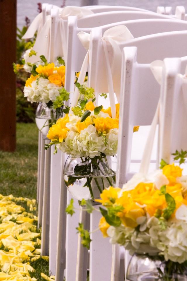 Hanging Arrangements of Hydrangea & Roses