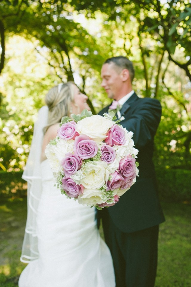 Lavender and Ivory Roses with Hydrangea Bouquet