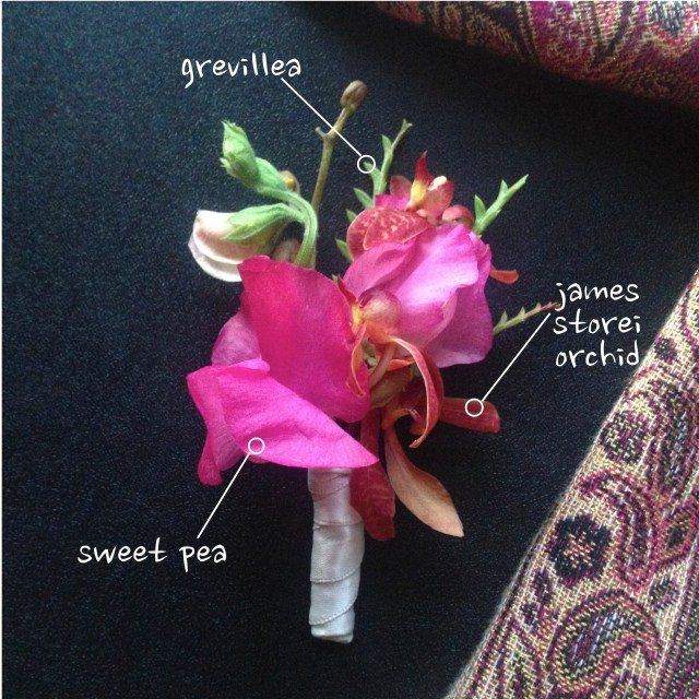Sweet Pea & Orchid Boutonniere by Jen's Blossoms