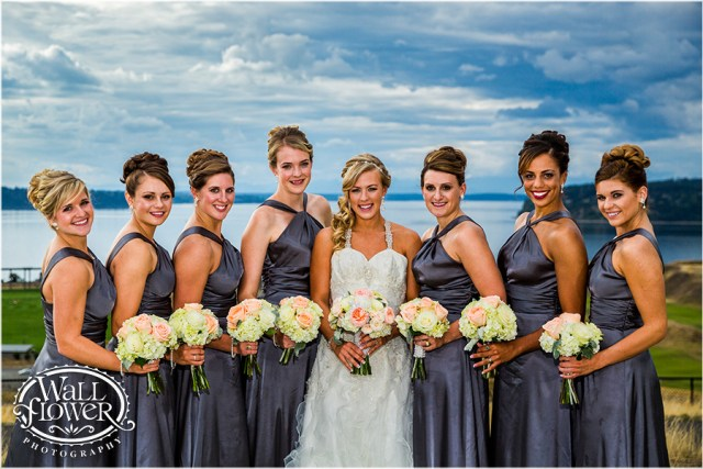 Bride & Bridesmaids at Chambers Bay || Flowers By: Jen's Blossoms || Photo By: WallflowerPhoto