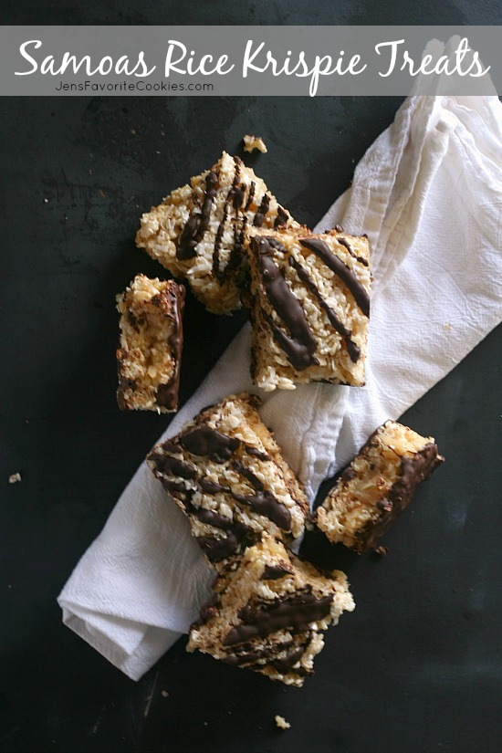 Samoas Rice Krispie Treats from JensFavoriteCookies.com