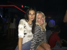 Posing with my roomie from Vienna, Sonja. (She also has a house in Miloš' town.) Here we are at Sabbia in Crikvenica.