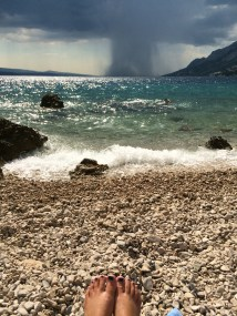 Distant rainstorms in Brela