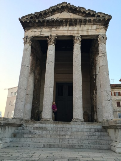 Jen and the Temple of Augustus - yes, I'm there, it's just really tall!