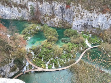 Famous overhead view of Plitvice