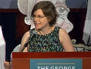 Jen Sorensen at podium at George Washington University