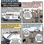 """This Week's Cartoon: """"Romney Straps Worker to Roof of Campaign Bus"""""""