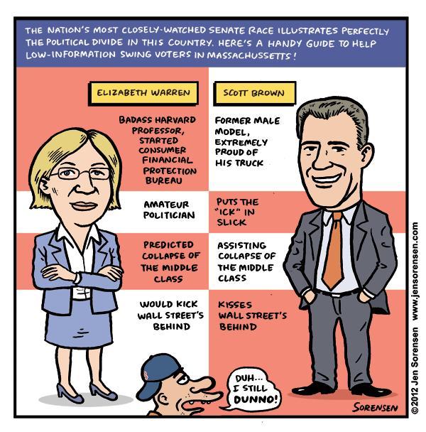 This Week's Cartoon: Warren vs. Brown Voting Guide