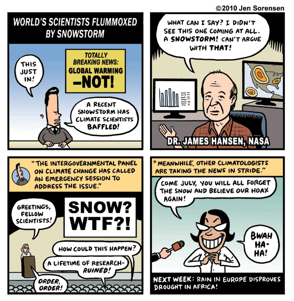 Cartoon about Global Warming and cold weather