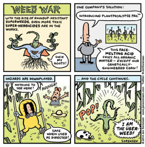 Cartoon about superweeds and herbicide resistance