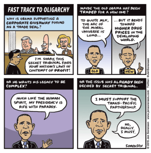 Cartoon on TPP, Trans-Pacific Partnership fast track trade agreement
