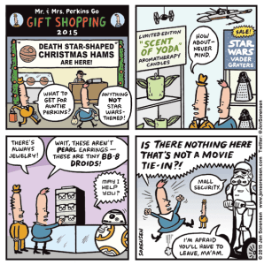 Cartoon about Star Wars merchandise