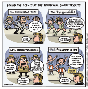 Cartoon about USA Freedom Girls at Trump rally