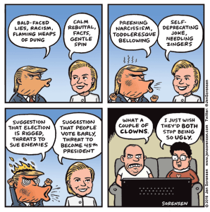 cartoon comparing Hillary Clinton and Donald Trump