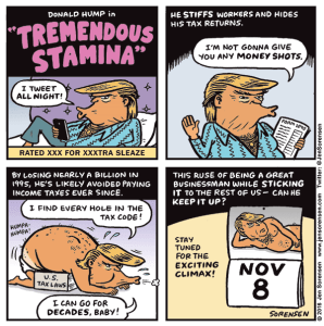 cartoon about Donald Trump's claim that he has tremendous stamina