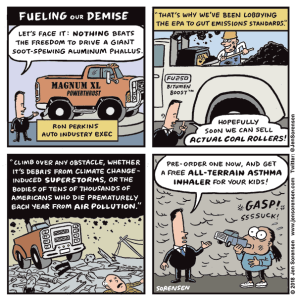 cartoon about air pollution from car exhaust