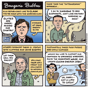 Cartoon about rich elite Republicans calling other people elites