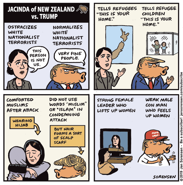 Jacinda of New Zealand vs. Trump