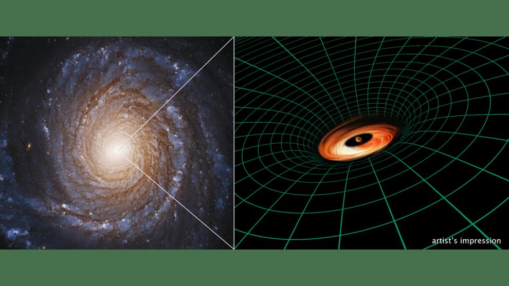 CREDITS:Hubble Image:NASA,ESA, S. Bianchi (Università degli Studi Roma Tre University), A. Laor (Technion-Israel Institute of Technology), and M. Chiaberge (ESA,STScI, andJHU); Illustration:NASA,ESA, and A. Feild and L. Hustak (STScI)
