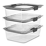 Rubbermaid Brilliance Food Storage Container, Large, 9.6 Cup, Clear, 3 Pack  by Rubbermaid
