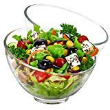 TOSSOW Glass Salad Bowl Set of 2 Clear Glass Fruit Bowl 600ml/20oz Big Mixing Bowl All Purpose Round Serving Bowl Great for Serving Salad Popcorn Dips Condiments Snack Oatmeal and More  byT TOSSOW