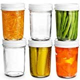 Glass Mason Jars Full Mouth - 8 Ounce - (6 Pack) Glass Jars with Metal Airtight Lids Perfect Meal Prep, Food Storage, Canning, Drinking Jars, for Jelly, Jam, Dry Food, Spices, Herbs, Salads, Yogurt,  byPaksh Novelty