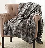 Pinzon Faux Fur Throw Blanket - 63 x 87 Inch, Frost Grey  byPinzon by Amazon