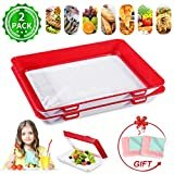 Creative Stackable Food Preservation Tray JOYXEON Vacuum Preservation Tray with Elastic Lid for Vegetable Fruit Meat Fish Snack,Reusable,Dishwasher,Microwave and Freezer Safe,BPA free+ 2x Dish Towels  by JOYXEON