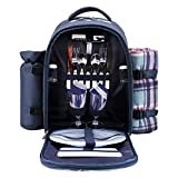 apollo walker Picnic Backpack Bag for 2 Person with Cooler Compartment, Detachable Bottle/Wine Holder, Fleece Blanket, Plates and Cutlery (Blue)  by apollo walker