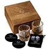 Whiskey Stones Gift Set w/ 8 Granite Whiskey Rocks,2 Crystal Whiskey Glasses & Velvet Bag by EMcollection|Reusable Cooling Ice Cubes|Chill Your Scotch & Cold Drinks|Packed in Elegant Wooden Box  by EMCOLLECTION