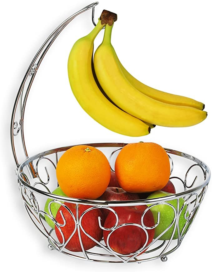 SimpleHouseware Fruit Basket Bowl with Banana Tree Hanger, Chrome Finish  by Simple Houseware