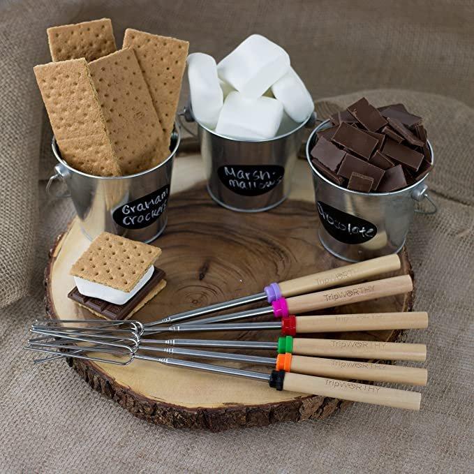 TripWorthy 15469 Marshmallow Roasting Sticks & Bonus 10 Bamboo Skewers (Kid Friendly) - Set of 8, 32 Inches, Blue, Red, Green, Orange, Purple, Pink, Yellow, Black  Brand: Tripworthy