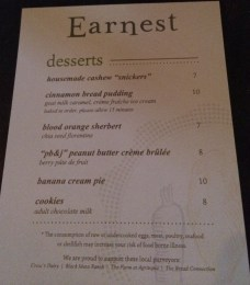 Earnest Dessert Menu