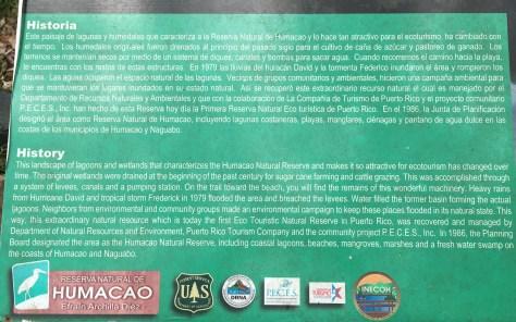 Humacao Natural Reserve History sign