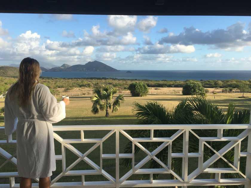Enjoying coffee on my balcony. Mount Nevis Balcony view while I drink coffee in a bathroom.