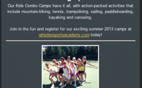 E-Newsletter Template Design – Whistler Sports Academy