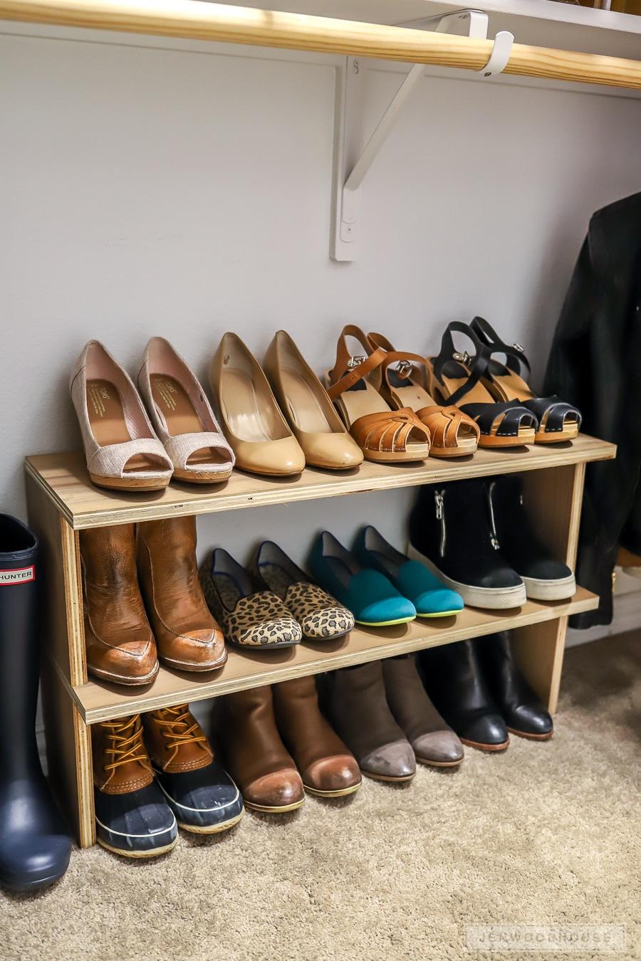 easy diy shoe shelf organizer