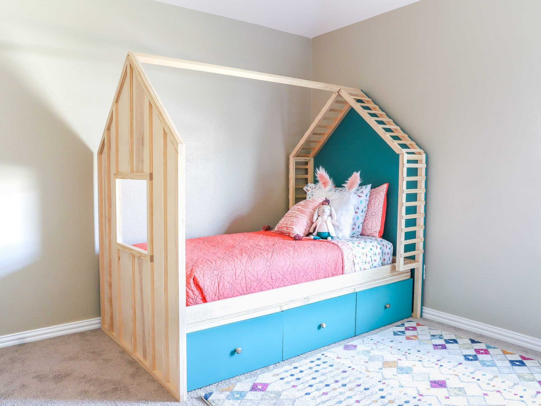 build a diy kids house bed with storage
